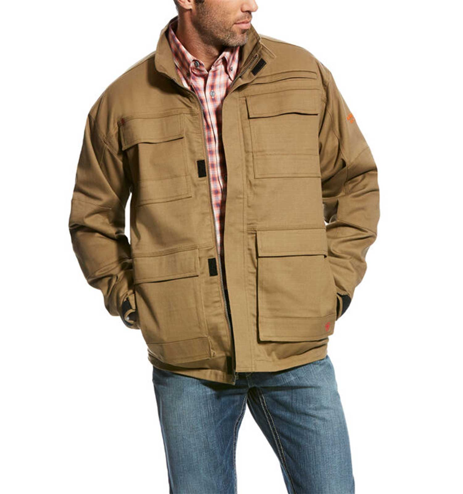 Ariat-FR-Canvas-Stretch-Jacket-Field-Khaki-Front