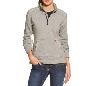 Ariat-Women's-FR-Polartec-Fleece-14-Zip-Top-Heather-Gray-Front