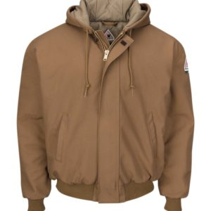 Bulwark-EXCEL-FR®-ComforTouch®-Brown-Duck-Hooded-Jacket-Knit-Trim-JLH6BD-F-Khaki-Front