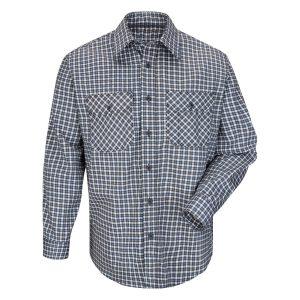 Bulwark-EXCEL-FR-ComforTouch-Plaid-Uniform-Shirt--SLD6-gray-blue