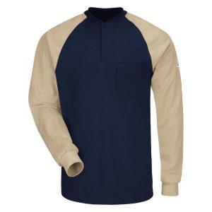 Bulwark-FR-Long-Sleeve-Henley-T-shirt---SEL4NK-khaki-navy