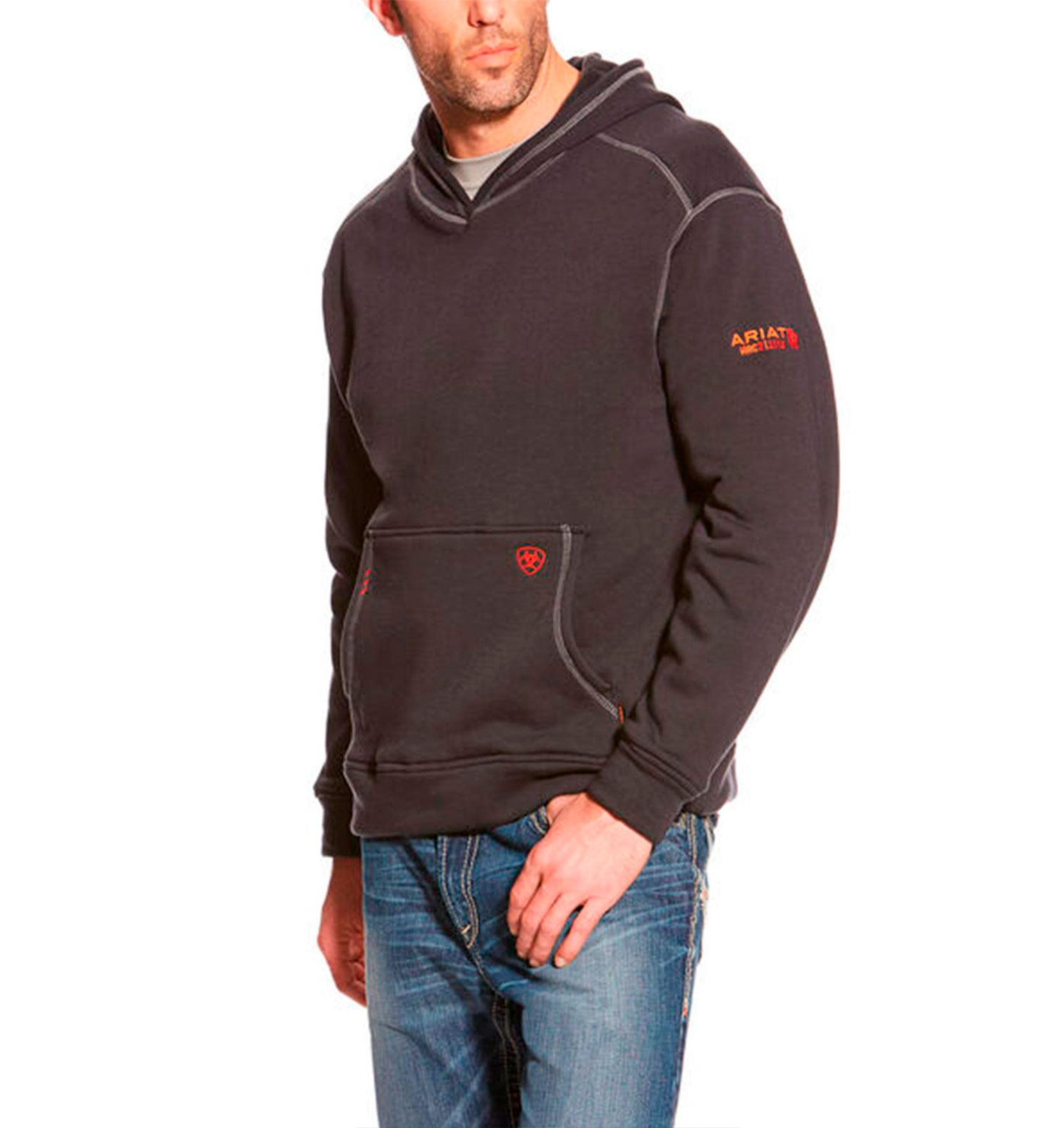 Ariat-FR-Polartec-Hoodie-heather-black-front